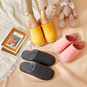 纯色棉拖鞋冬季防滑室内家居保暖家居拖鞋
