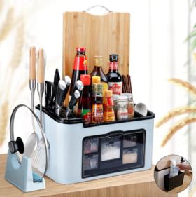 【厨房置物架】厨房置物架多功能调料盒油盐调料罐收纳盒佐料架调味盒刀具收纳架