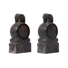 青石雕刻大象石鼓门墩摆件软装饰品(对)