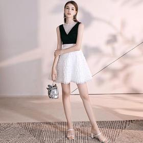 SYFS19070新款时尚名媛气质短款礼服裙TZF(马夹可拆卸)