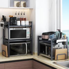 【厨房置物架】*不锈钢多层微波炉架 烤箱橱柜置物架 落地伸缩厨房用品置物架