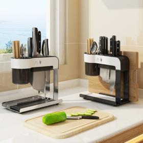 【刀架】*一体式收纳整理架子厨房刀架置物架筷子砧板刀具架不锈钢厨房刀架