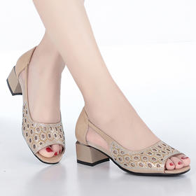 KQXH-YD1592-75新款时尚镂空烫钻鱼嘴中跟凉鞋TZF