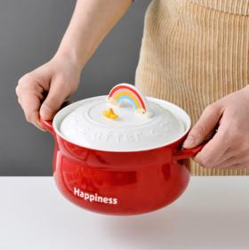 【碗】*创意彩虹手机支架陶瓷大容量泡面碗儿童学生防烫双耳面碗饭菜汤碗