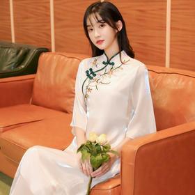 YSYFS518新款中国风优雅气质修身立领盘扣刺绣连衣裙TZF