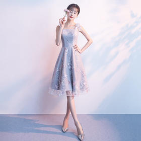 QSYX新款优雅气质修身刺绣双肩带蕾丝礼服裙TZF