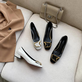 OLD12-55新款百搭粗跟漆皮方扣单鞋TZF