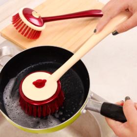【厨房用品】*加强型可挂式彩色带长柄锅刷优质长柄不沾油洗碗碟清洁刷