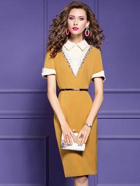 FMY30248新款优雅气质修身显瘦钉珠短袖通勤包臀裙TZF