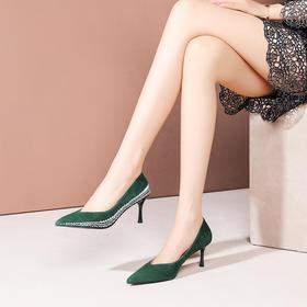 OLD-C1025-322新款黑色拼接浅口细跟尖头单鞋TZF