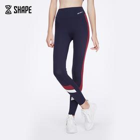 趁早 shape秋新品复古拼色高腰运动leggings 健身长裤女CZ7Q3014