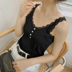 MM2014新款潮流时尚性感睫毛蕾丝吊带背心TZF
