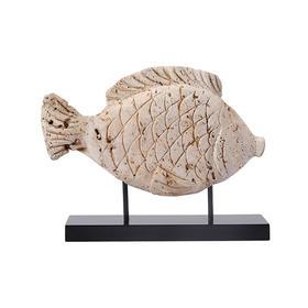 洞石雕刻石鱼石头摆件软装饰品