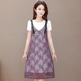 QYM-TYH-206047蕾丝吊带连衣裙两件套TZF