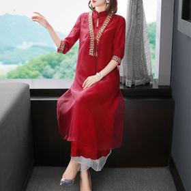 FNZD20107新款中国风优雅气质立领刺绣连衣裙TZF