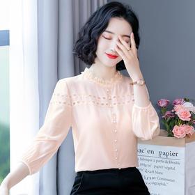 XFFS9136新款时尚气质立领蕾丝拼接衬衫TZF