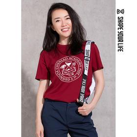 趁早SHAPE学院校服T恤 经典学院风圆领宽松短袖上衣0Q1035