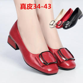 KQXH-WNN8088-70新款时尚真皮浅口休闲中粗跟单鞋TZF