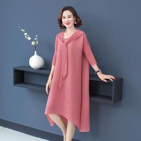 HCFS2063新款时尚洋气薄款宽松显瘦冰丝针织连衣裙TZF