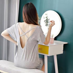 GQ-MDL018新款时尚莫代尔宽松短袖性感露背睡裙TZF