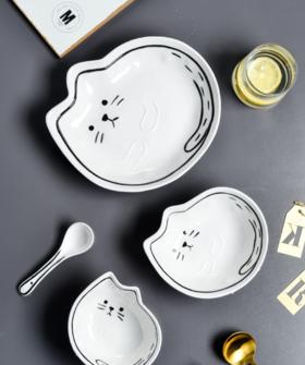 【碗】*日式猫咪与鱼可爱创意卡通碗陶瓷套装沙拉碗蔬菜水果大号单个碗盘
