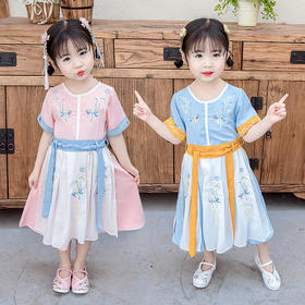 NFN新款中国风刺绣女童连衣裙TZF