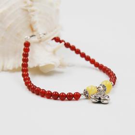 天然红玛瑙圆珠手链 搭配蜜蜡