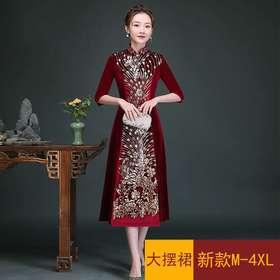 GY800-802新款韩国绒丝绒长款钉珠旗袍裙TZF