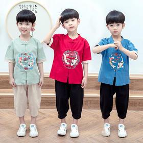 NFN新款儿童棉麻印花上衣裤子两件套TZF