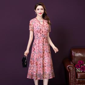 YMR8343新款时尚优雅气质修身短袖蕾丝绣花连衣裙TZF