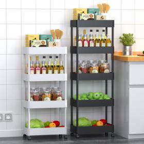 【厨房置物架】*厨房置物架夹缝收纳落地多层带轮可移动蔬菜侧边冰箱窄缝小推车
