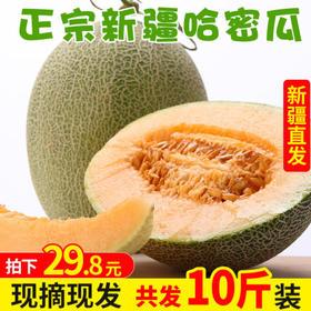新疆哈密瓜带箱10斤新鲜水果当应季脆甜网纹香蜜瓜吐鲁番整箱包邮