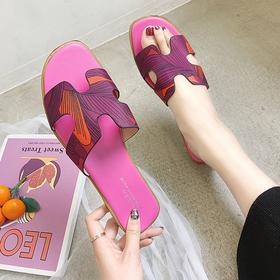 LN-A01新款潮流时尚涂鸦平底凉拖鞋TZF