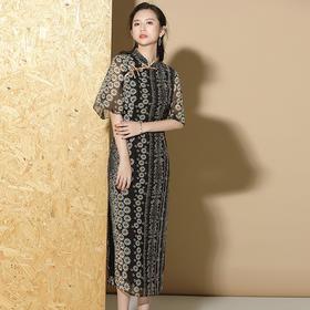 XZY-QF-200414新款优雅气质修身短袖立领雪纺小雏菊长款旗袍裙TZF