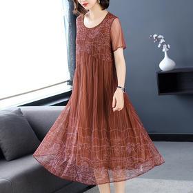 AHM-ym8206新款印花网纱裙连衣裙TZF