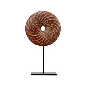 红玉石螺纹饼加托中式软装饰品玉石摆件平安扣玉扣玉璧