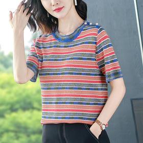 FCY-MD2652新款条纹短袖冰丝t恤TZF