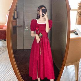 JGFS-B536新款泡泡袖时尚方领气质百搭红色连衣裙TZF