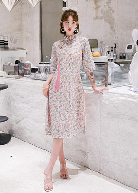 MES6065新款优雅气质修身立领苎麻印花旗袍裙TZF