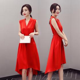 CQ-XMRS1670新款时尚气质修身显瘦无袖V领纯色连衣裙TZF