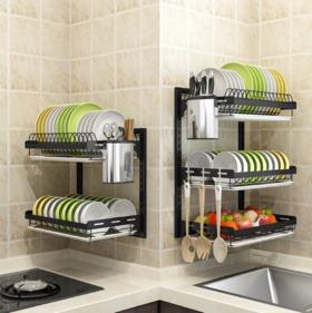 【厨房置物架】*不锈钢厨房置物架壁挂黑色碗碟架刀筷沥水架免打孔晾碗放碗收纳架