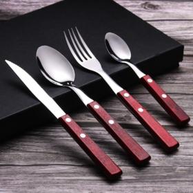 【餐具】*304不锈钢原实木手柄西式刀叉勺创意木质西餐具礼品套装