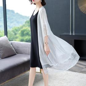 FCY-BZ0715新款时尚气质冰麻拼接蕾丝针织开衫外套TZF