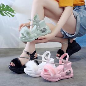 LN-A93新款时尚带钻松糕一字扣露趾凉鞋TZF
