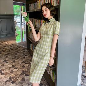 ZA82107新款时尚气质修身棉麻格子中长旗袍裙TZF