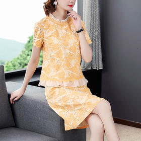 HT5890新款时尚气质蕾丝短袖上衣短裙两件套TZF
