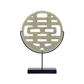 喜字镂空雕刻玉片中式玄关摆设摆件玉石玉璧软装饰品双喜