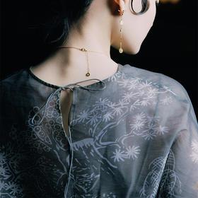 游园 · 印花半透圆领短袖罩衫