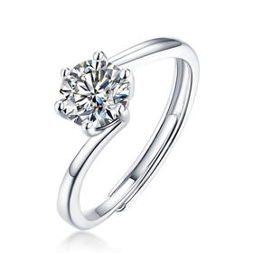 XDE-YR0752新款S925纯银镀白金莫桑钻珍爱戒指TZF(带证书)