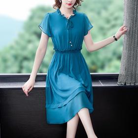 AHM-ybb6751新款时尚优雅气质收腰显瘦荷叶袖连衣裙TZF